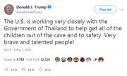Tổng thống Donald Trump: Mỹ đang phối hợp chặt chẽ, giúp Thái Lan giải cứu đội bóng mắc kẹt