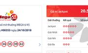 Kết quả xổ số Vietlott hôm nay 26/10/2018: Jackpot hơn 20 tỷ đồng