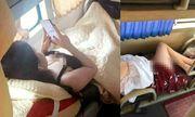 Nhức mắt trước hình ảnh người phụ nữ mặc váy ngắn nằm hớ hênh trên xe khách về quê ăn Tết