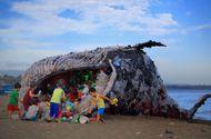"""Tin thế giới - """"Cá voi khổng lồ"""" nằm chết bên bãi biển, ai cũng sốc khi phát hiện ra thứ bên trong miệng nó"""