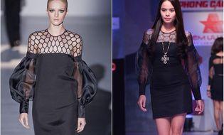 Thời trang & Làm đẹp - Người mẫu Thu Hiền diện váy nhái Gucci trên sàn diễn