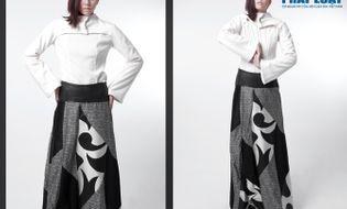 Thời trang & Làm đẹp - Hà Thu - Văn Kiên diện trang phục bằng lông dê