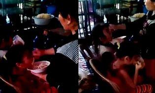 """Đời sống - Video: Phẫn nộ bảo mẫu """"nhồi"""" cơm cho trẻ không khác gì nhồi vịt"""