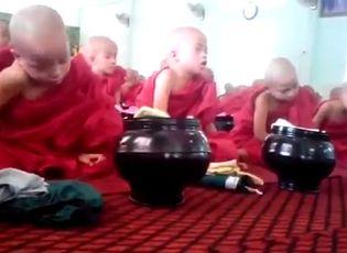Video: Cười nghiêng ngả với hình ảnh chú tiểu khi nghe giảng kinh
