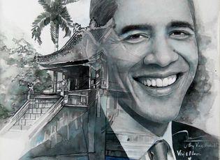 Cộng đồng mạng - Dân mạng ngưỡng mộ chàng trai trẻ thức 2 đêm vẽ tranh tặng Tổng thống Obama
