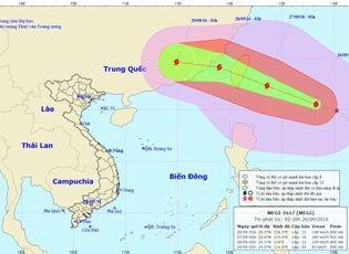 Tin trong nước - Tin bão MEGI mới nhất sáng 26/9: Gió giật trên cấp 14
