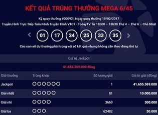 Bí quyết làm giàu - Kết quả xổ số điện toán Vietlott ngày 19/2: Có người trúng giải 41 tỷ đồng