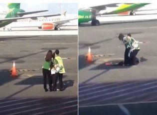 Video: Người phụ nữ vượt hàng rào an ninh, đuổi theo máy bay trên đường băng vì đi trễ