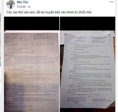 Vụ lọt đề thi Văn, Toán lớp 10 tại Hà Nội ra ngoài: Do thầy giáo chụp ảnh tung lên mạng - ảnh 1