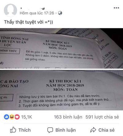 Lo học sinh quên, thầy giáo Toán in lời nhắn hài hước lên đề thi học kì gây bão mạng - ảnh 1