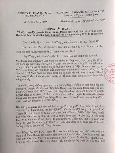 FLC Thanh Hoá dọa kiện các tổ chức sử dụng trái phép hình ảnh Bùi Tiến Dũng - ảnh 1