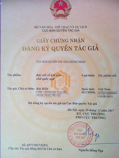 """PGS.TS Bùi Hiền đã được cấp giấy chứng nhận bản quyền cho """"Tiếq Việt"""" - ảnh 1"""