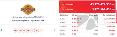 """Kết quả xổ số Vietlott hôm nay 12/7/2018: Jackpot hơn 43 lại chơi """"bịt mắt bắt dê"""" - ảnh 1"""