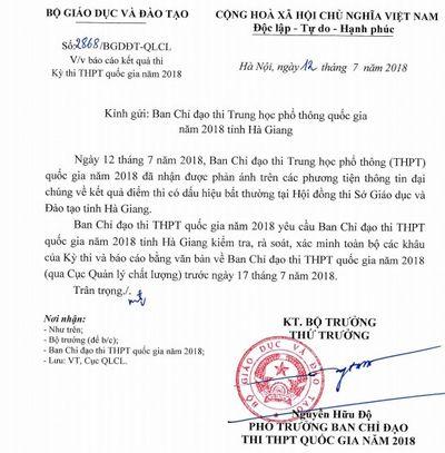 """Bộ GD-ĐT yêu cầu xác minh vụ điểm thi có dấu hiệu """"bất thường"""" ở Hà Giang - ảnh 1"""