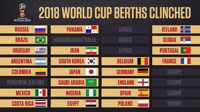 Danh sách 23 đội giành vé trực tiếp dự vòng chung kết World Cup 2018 - ảnh 1