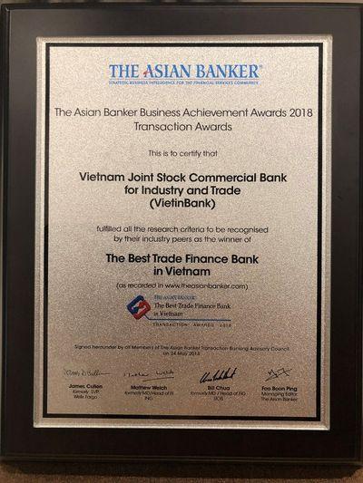 """VietinBank nhận """"cú đúp"""" giải thưởng uy tín từ The Asian Banker - ảnh 1"""