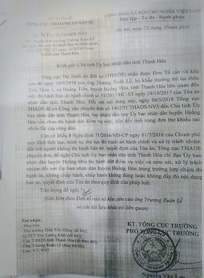 Thanh Hóa: UBND huyện Hoằng Hóa không thi hành bản án vì nội dung không rõ ràng? - ảnh 1