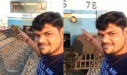Tin thế giới - Khủng khiếp cảnh bị đoàn tàu đâm bay khi đang chụp ảnh tự sướng