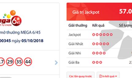 Tin tức - Kết quả xổ số Vietlott ngày 5/10/2018: Giải mã bộ số trúng Jackpot hơn 57 tỷ đồng