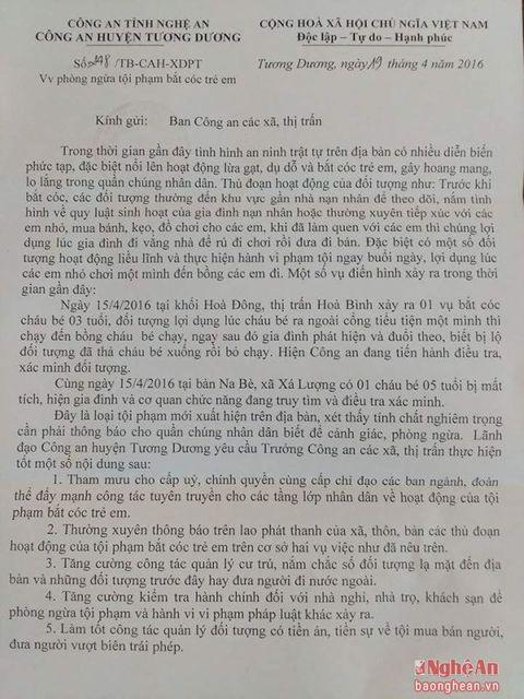 Cảnh báo tình trạng bắt cóc trẻ em ở Nghệ An - Ảnh 1