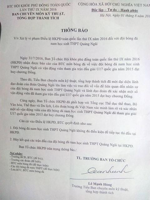Đội bóng THPT Quảng Ngãi bị loại khỏi Hội khỏe Phù Đổng do gian lận cầu thủ - Ảnh 2