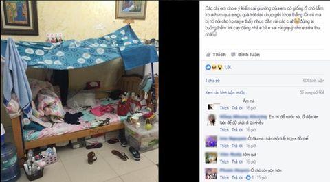 Dân mạng ném đá chiếc giường ngủ luộm thuộm 'như ổ chó' của bà mẹ trẻ - Ảnh 1