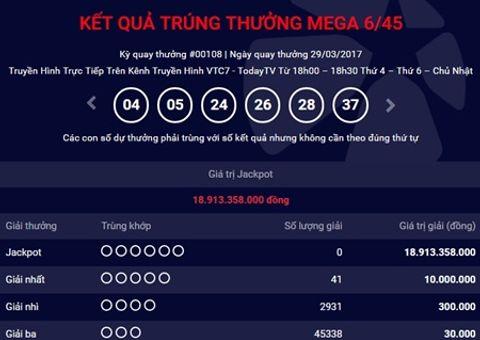 Bí quyết làm giàu - Kết quả xổ số điện toán Vietlott ngày 29/3: 18 tỷ chưa tìm thấy chủ