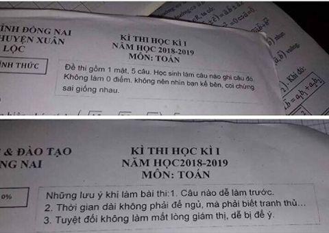 Tin tức - Lo học sinh quên, thầy giáo Toán in lời nhắn hài hước lên đề thi học kì gây bão mạng