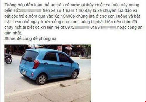 Tung tin bắt cóc trẻ em lên Facebook nhằm ... trả thù - Ảnh 1