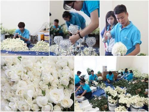 Thủy Tiên trang trí tiệc cưới bằng 50.000 bông hồng trắng - Ảnh 1