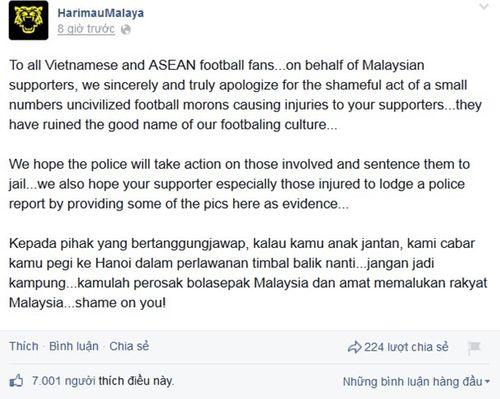 Người hâm mộ Malaysia đăng ảnh xin lỗi CĐV Việt Nam - Ảnh 3