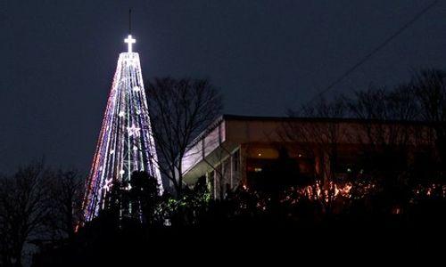 Noel 2014: Hàn Quốc dựng lại cây thông Noel khổng lồ giáp Triều Tiên - Ảnh 1