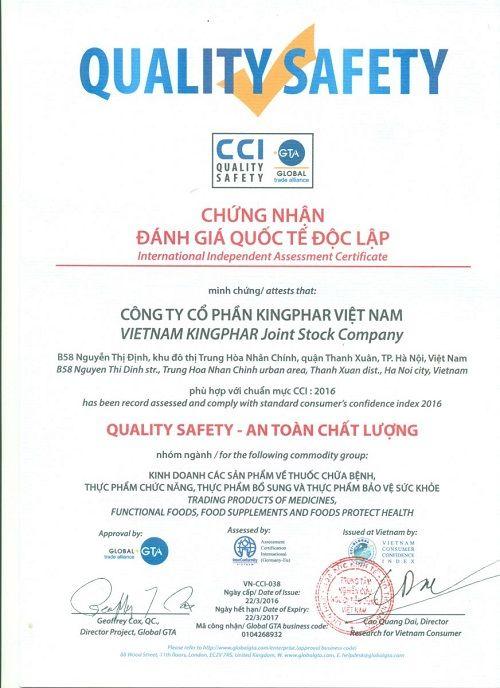 Công ty cổ phần Kingphar Việt Nam đạt chứng chỉ An Toàn Chất Lượng CCI-2016 - Ảnh 1