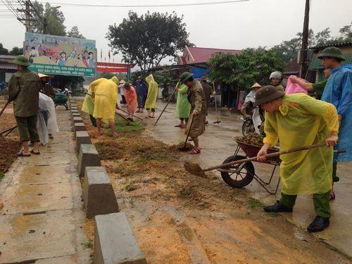 Hà Tĩnh: Hàng trăm chiến sỹ CAND đào đất, cuốc cỏ chung sức XD nông thôn mới - Ảnh 2