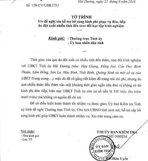 Ủy ban Kiểm tra tỉnh ủy nợ hơn 300 triệu tiền tiếp khách - Ảnh 1