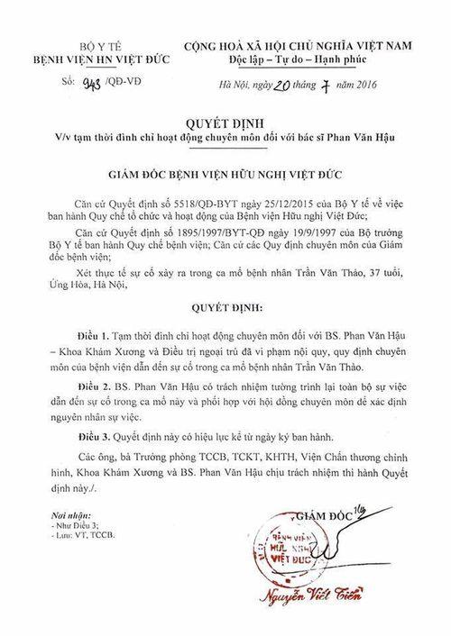 Đình chỉ bác sĩ mổ nhầm chân tại BV Việt Đức - Ảnh 1
