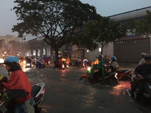 TP HCM: Mưa lớn bất chợt, đường phố biến thành sông - Ảnh 4