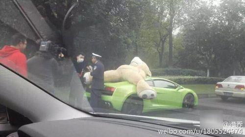"""Nam thanh niên chở gấu bông """"khủng"""" trên siêu xe bị cảnh sát chặn lại - Ảnh 2"""