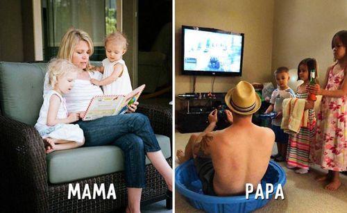 """Cười """"té ghế"""" sự khác biệt giữa cách trông con của bố và mẹ - Ảnh 9"""