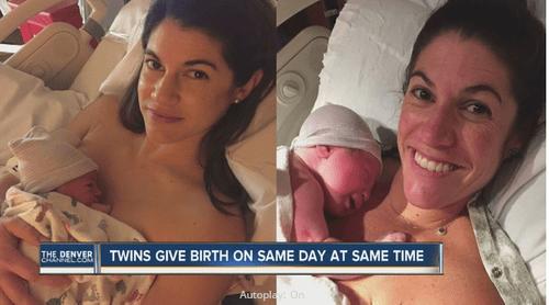 Cặp chị em sinh đôi sinh con cùng ngày, giờ - Ảnh 1