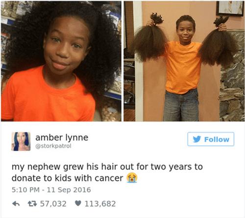 Cậu bé suốt 2 năm nuôi tóc để làm tóc giả cho trẻ em ung thư - Ảnh 1