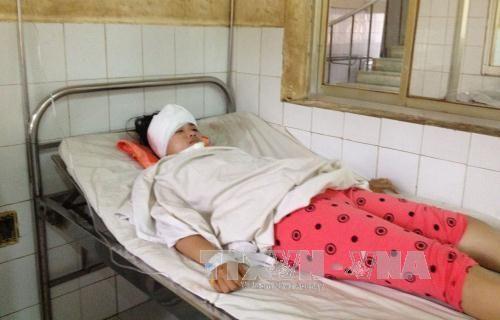 Nữ sinh bị đèn cao áp rơi trúng đầu lúc tan trường - Ảnh 1