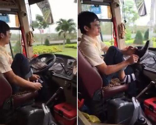 Clip: Tài xế xe khách bỏ vô lăng để... đi tất, xỏ giày - Ảnh 1