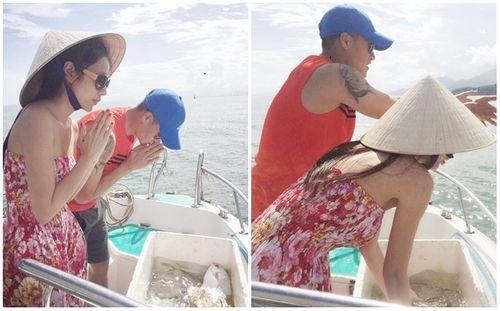 Thủy Tiên – Công Vinh ra biển thả cá phóng sinh - Ảnh 3