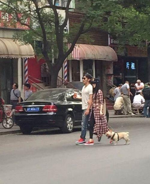 Phạm Băng Băng, Lý Thần tay trong tay dắt thú cưng dạo phố - Ảnh 1