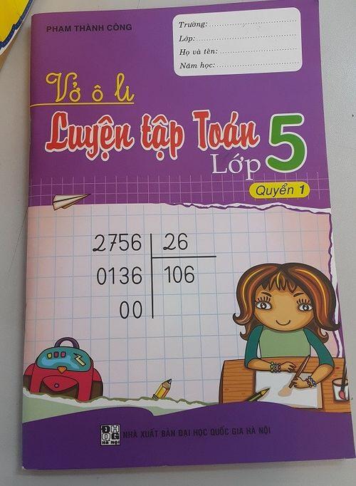 Vở luyện tập Toán lớp 5 có lỗi ngay trên trang bìa - Ảnh 1
