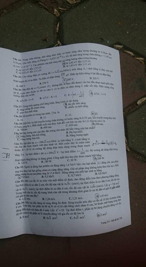 Đáp án đề thi môn Vật lý mã đề 759 THPT quốc gia năm 2016 - Ảnh 4