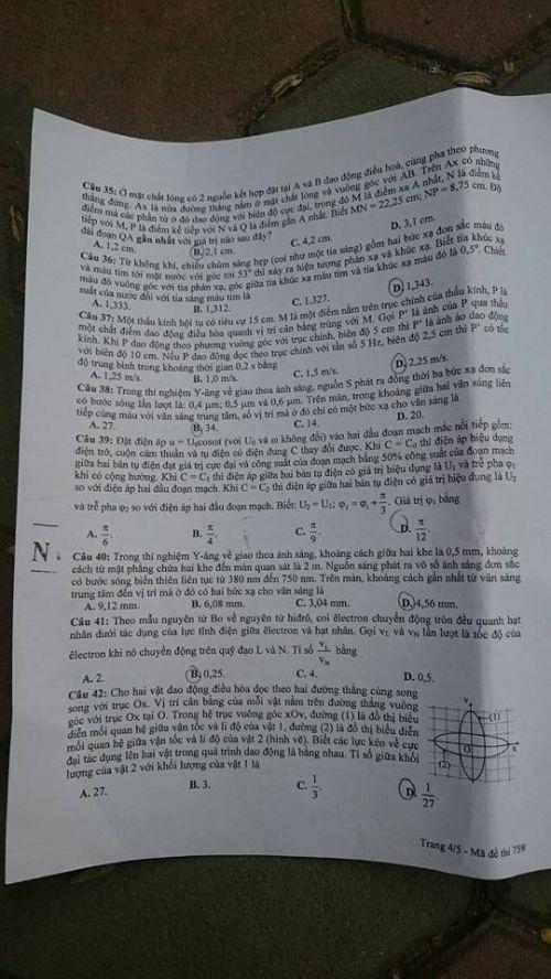 Đáp án đề thi môn Vật lý mã đề 759 THPT quốc gia năm 2016 - Ảnh 5