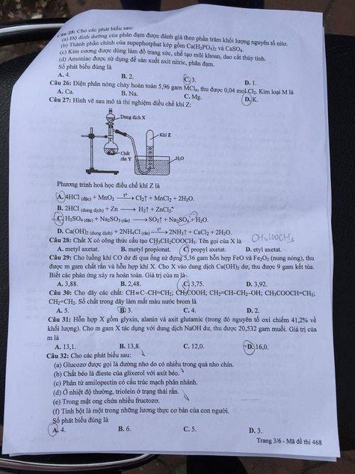 Đáp án đề thi môn Hóa học mã đề 468 THPT quốc gia năm 2016 - Ảnh 4