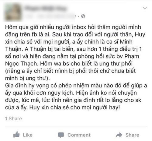 Ca sỹ Minh Thuận bị ung thư, hiện đang tai biến - Ảnh 2